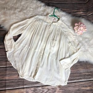 Free People White Boho Peasant Blouse